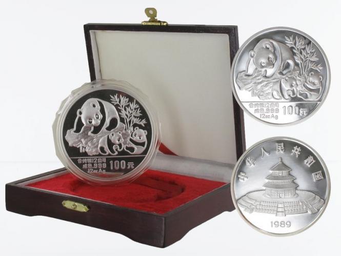 China 100 Yu Panda  1989 Box, 12 oz  Silber PP