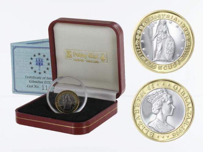 Gibraltar 75 Ecu Gold/Platin 1996, Austria, PP
