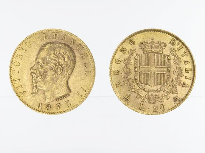 Italien Emanuele II . 1873, 20 Lire Gold