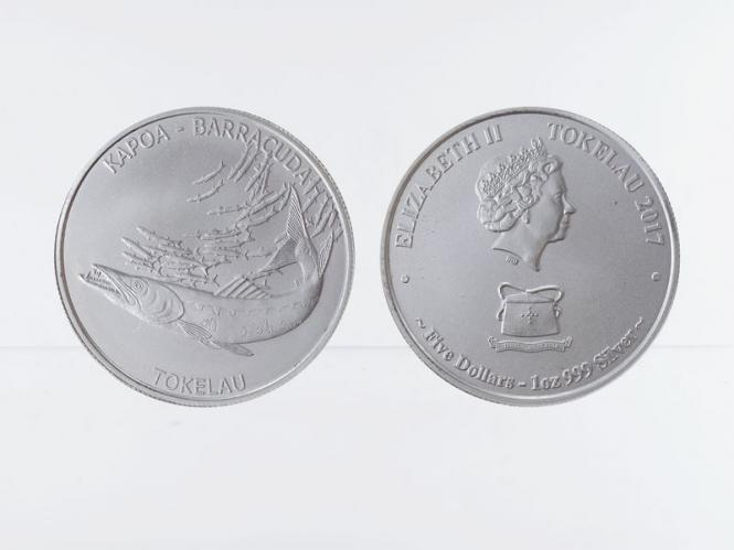 Tokelau 5 Dollar Kapoa Barrcuda 2017, 1 oz Silber