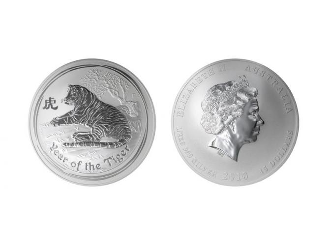 Australien 15 $ Tiger Lunar II 2010, 1/2 Kilo Kg  Silber