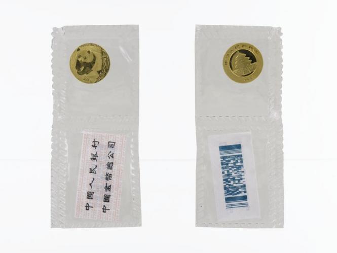 China 20 Yu  Panda 2001, Folie, 1/20 Unze Feingold