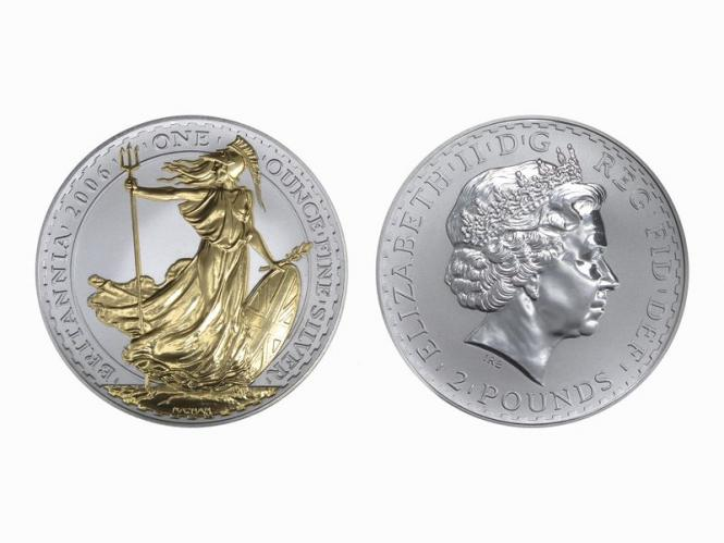 GB 2 Pfd. Silber Britannia 2006 gildet, 1 oz