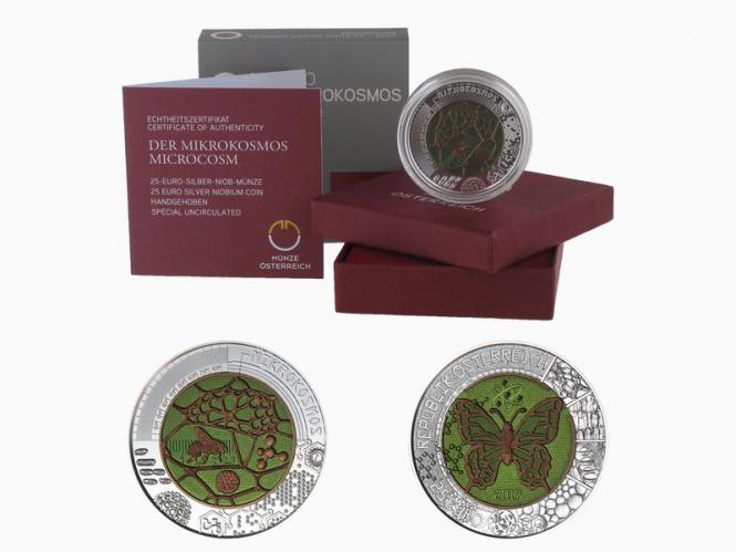 Österreich 25€ Niob,Der Mikrokosmos 2017