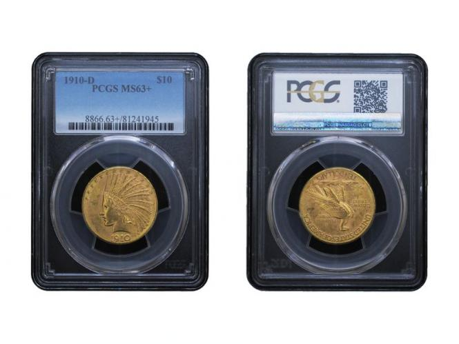 USA 10 Dollars Gold Indian Head 1910 D, Slab (PCGS MS63+)