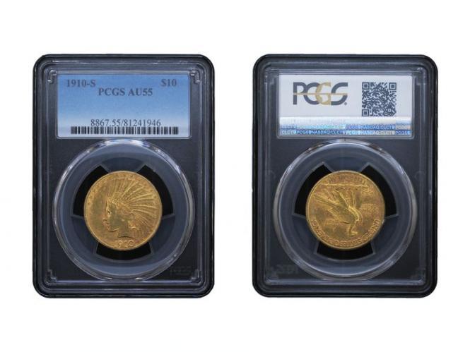 USA 10 Dollars Gold Indian Head 1910 S, Slab (PCGS AU55)