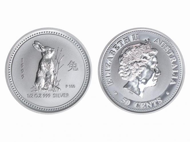Australien 1/2$ $ Hase Lunar I 1999, 1/2 oz  Silber