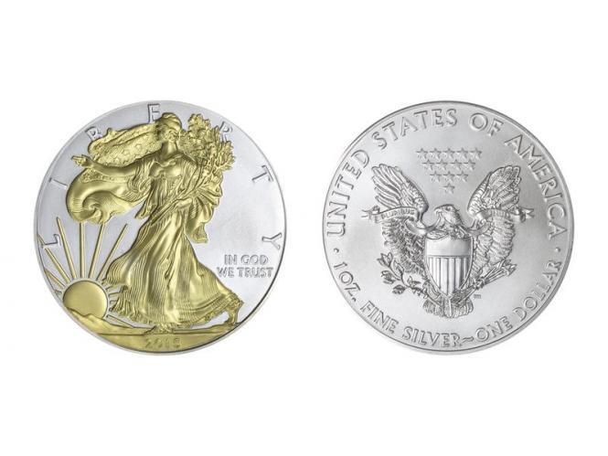 USA 1 Dollar Silver Eagle 2015     gildet