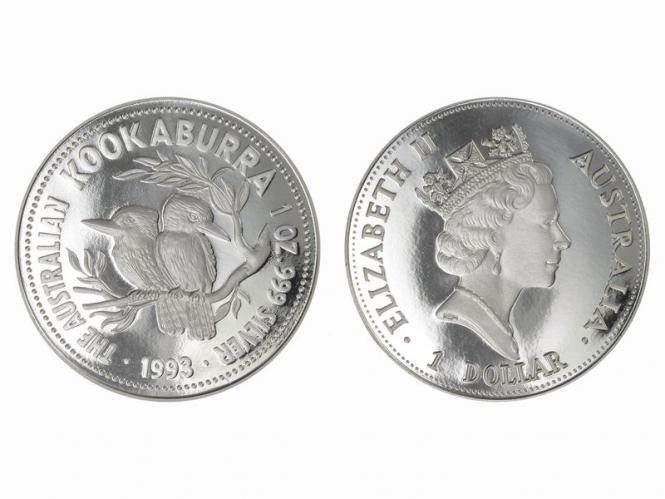Australien 1$ Kookaburra 1993, 1 oz  Silber PP