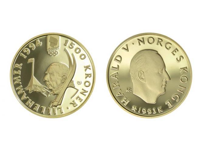 Norwegen 1500 Kroner Gold, 1993, Lillehammer 1994, Ski