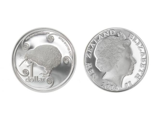 Neuseeland 1$ Kiwi 2004, 1 oz  Silber proof