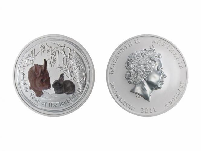 Australien 8$ Hase Lunar II  2011  farbig, 5 oz  Silber
