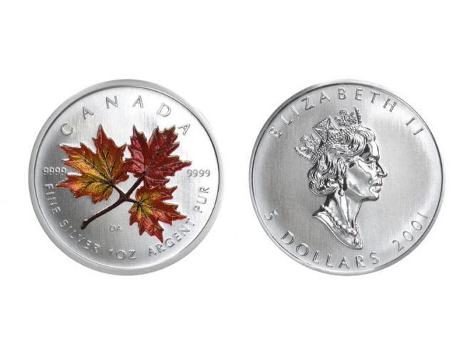 Kanada 5$ Maple Leaf 2001, coloriert Herbst