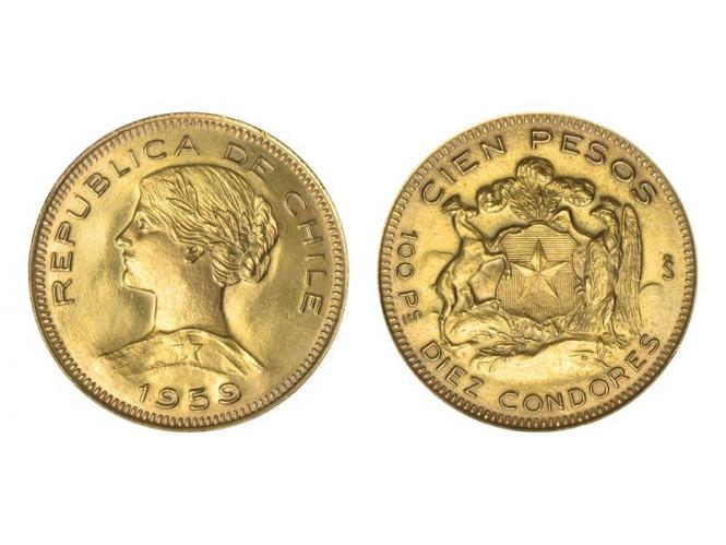 Chile 100 Pesos Freiheitskopf 1959