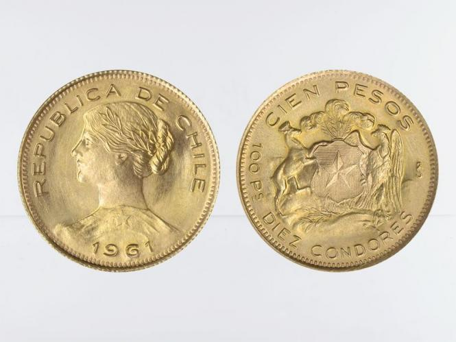 Chile 100 Pesos Freiheitskopf 1961
