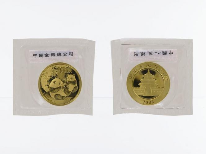 China 200 Yu  Panda 2006 Folie Kontrollzettel 1/2 Unze Feingold