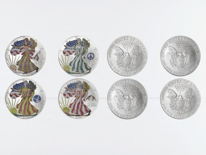 USA 1 Dollar Silver Eagle 2003, Four Seasons, farbig 4 oz