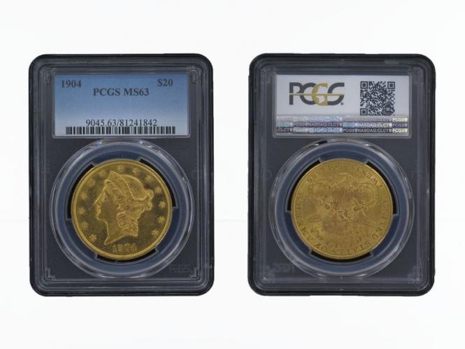 USA 20 Dollars Gold Eagle/Kopf 1904, Slab PCGS MS63