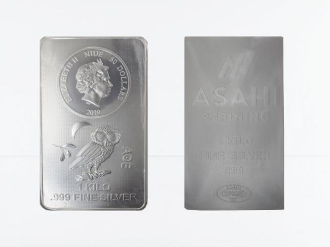 Niue 50 $. Münzbarren Eule, 1 Kg Silber