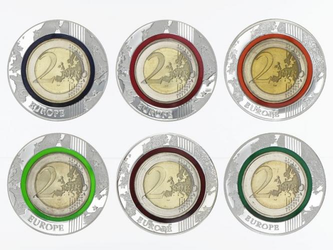 BRD 6x 2 Euro, Collection 2014-2019 Polymer-Gedenkausgabe