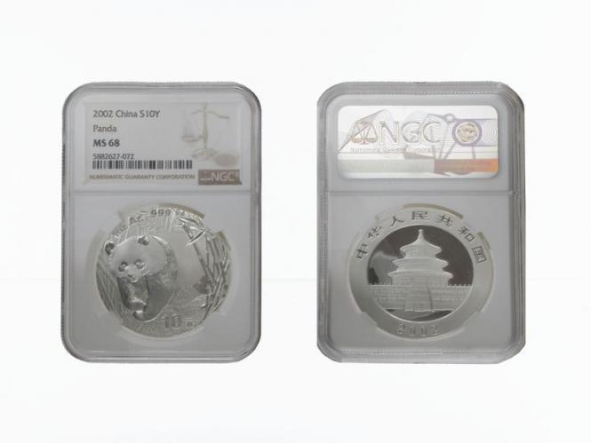 China 10 Yu Panda  2002, Slab MS68 (GEM Uncirculated)