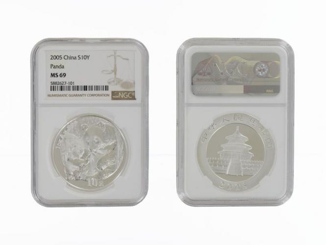 China 10 Yu Panda  2005, Slab MS69 (GEM Uncirculated)