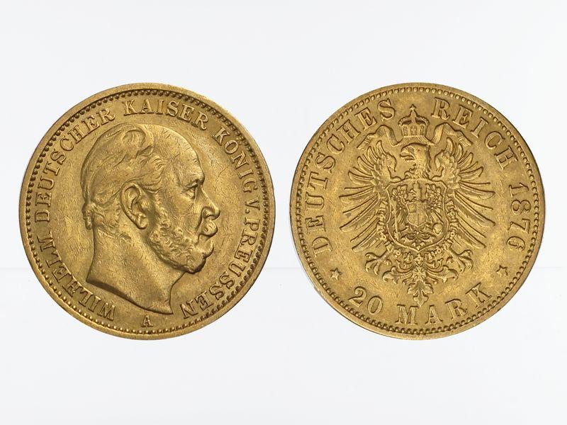 Lohmann Münzen Barren Preussen 20 Mark Gold Wilhelm I 1876