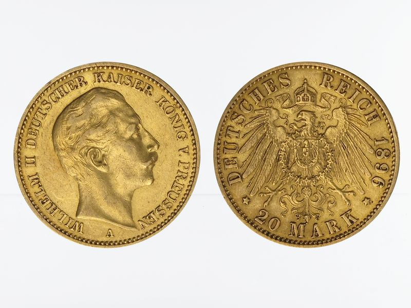 Lohmann Münzen Barren Preussen 20 Mark Gold Wilhelm Ii 1896