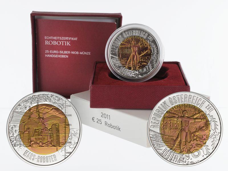 Lohmann Münzen Barren österreich 25 Euro Niob Robotik 2011