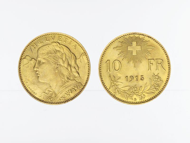 Lohmann Münzen Barren Schweiz 10 Franken Vreneli Goldmünze