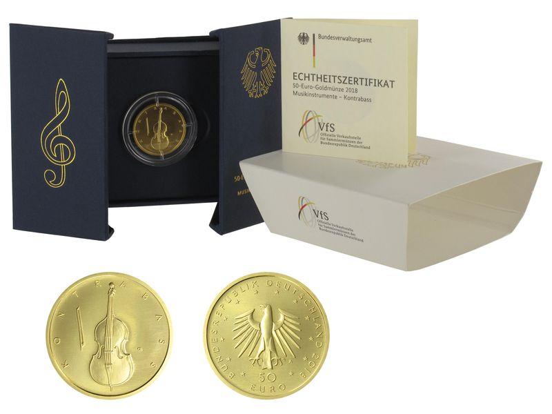 Lohmann Münzen Barren Brd 50 Euro Gold 2018 J Kontrabass B